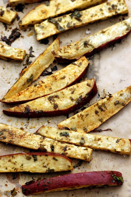ROASTED SWEET POTATO WEDGES WITH CILANTRO AND LIME
