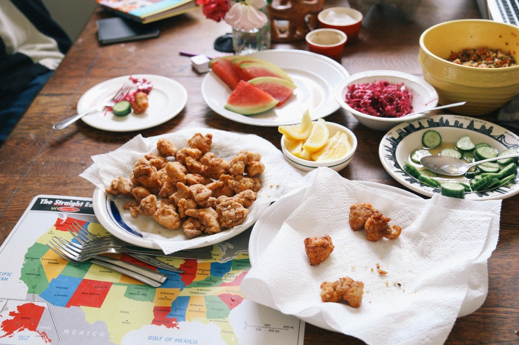 Japanese fried chicken lunch