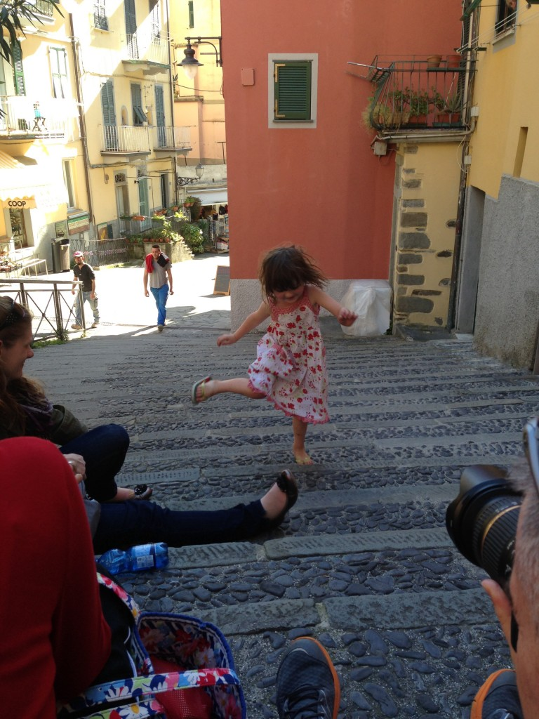 Lu dancing in the Cinque Terra