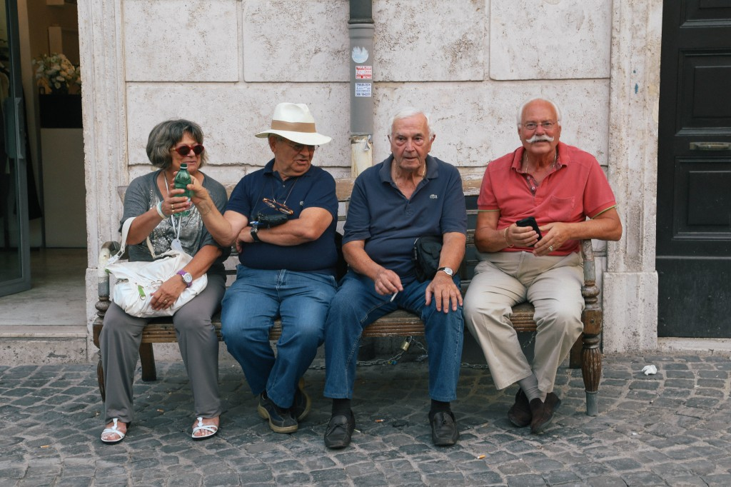 Roman men on a bench